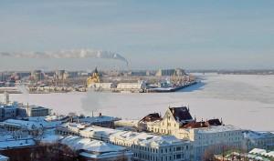 Зимняя фотография стрелки (Ока и Волга).